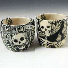 Porcelain Shot Glasses/Tea Set with Skeletons $44
