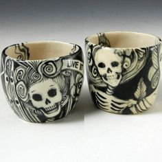 Porcelain Shot Glasses/Tea Set with Skeletons $44