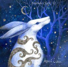 VENDITA!!  Arte giclée edizione limitata stampa di Amanda Clark. Lepre dipinti, pittura in miniatura