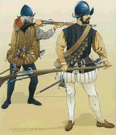 Los Tercios Españoles | Su gran arma era el arcabuz, un cañón de hierro montado sobre caja de madera con culata. El equipo incluía asimismo una bandolera para las cargas de pólvora y una mochila para las balas, la mecha y el mechero. El arcabucero recibía cierta cantidad de plomo y un molde en el que debía fundir sus propias balas.