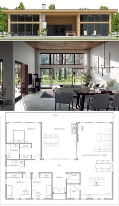 Small House Plan, small home plan Two Story House Plans, House Layout Plans, Dream House Plans, Small House Plans, House Layouts, Tiny Home Floor Plans, Four Bedroom House Plans, Modern House Floor Plans, Casas Containers