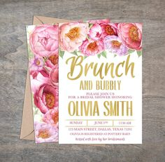 Brunch and Bubbly Bridal Shower Invitation, Watercolor Floral Invite, Pink, Gold, Foil Gold Invitation, DIY, Printable, Double Sided by thelittlebluebarn on Etsy https://www.etsy.com/listing/293263871/brunch-and-bubbly-bridal-shower