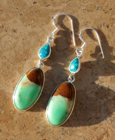 Boulder Chrysoprase and Blue Fire Opal Earrings by AleaMariCo on Etsy