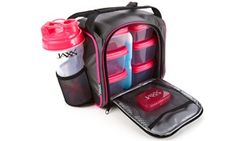 Insulated bag, shaker bottle, and containers carry a whole day's worth of hearty meals and healthy snacks