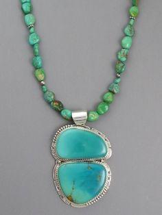Large Manassa Turquoise Pendant Necklace http://www.southwestsilvergallery.com/AWSCategories/p/52/Turquoise-Necklaces