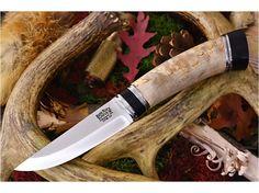 Knives By Maker :: Bark River Knives :: Scandi :: Bark River Knives: Scandi Fixed Blade Hunting / Bushcraft / Outdoor Knife w/ Curly Birch Burl Handle With Black Micarta Spacer & Pommel - 3