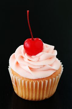 Cherry Vanilla Cupcakes Recipe | gimmesomeoven.com
