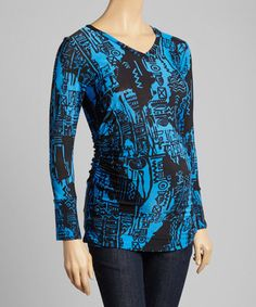 Another great find on #zulily! Blue & Black Abstract Ruched Maternity V-Neck Top #zulilyfinds