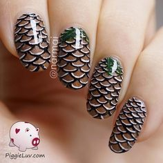 Pine cones!!! The story behind this is interesting: I did somemermaid scale nailsa while back and I included a video tutorial. @thehungercatwas inspired by it and made her own version.In herversion, the scales were flatter, and she has a pointy nail shape. All of this combined made me think of.... pine cones! So this design is inspired by a design which was inspired by me! It's nailception!  I used@aliquidlacquer Doggedand@parrot_polish Chocolate Wafflesfor the base. I painted the…