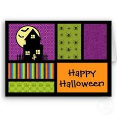 halloween card using patchwork quilt idea! Would also work to use Christmas colors for a Christmas card Diy Halloween Cards, Holidays Halloween, Halloween Decorations, Halloween Scrapbook, Halloween Quilts, Happy Halloween, Halloween Parade, Halloween 2013, Halloween Crafts