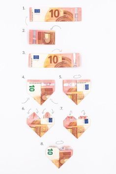 Banknotes fold as a heart: A magical idea for money gifts - Hochzeit geschenk geld - Crafts Great Birthday Gifts, Birthday Presents, Diy Wedding Lighting, Diy Wedding On A Budget, Cool Diy Projects, Newborn Gifts, Fun To Be One, Homemade Gifts, Paper Flowers