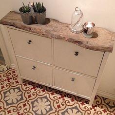 Carrelage meuble chaussure DIY bois