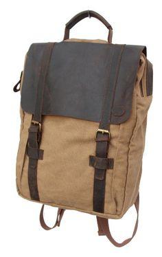 Amazon.com: Otium 30520KA Canvas Genuine Leather Laptop BagPack,Khaki: Clothing