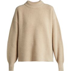 The Row Delia boyfriend knit sweater ($1,132) ❤ liked on Polyvore featuring tops, sweaters, the row, drop shoulder tops, boyfriend tank top, brown top, round neck sweater and brown sweater