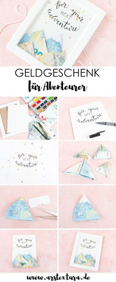 Tinker money gift for adventurers Tinker money gift: money . Tinker money gift for adventurers Tinker money gift: fold banknotes as mountains – a great D Diy Gifts For Christmas, Diy Wedding, Wedding Gifts, Diy Pinterest, Diy And Crafts, Diys, How To Make Money, Presents, Gift Wrapping