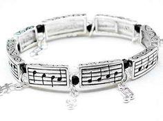 Silver Tone w/Crystal Fur Elise Music Note Band Stretch Bracelet Music Jewelry, Stretch Bracelets, Link Bracelets, Jewelry Bracelets, Music Decor, Music Gifts, Instruments, Crystal Jewelry, Stone Jewelry