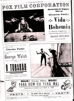 1919 - A GIRL IN BOHEMIA - Howard M. Mitchell /// 1920 - THE SHARK - Dell Henderson & John J. Foley /// 1919 - FOR BITTER OR FOR VERSE - Charles Bowers & Raoul Barré - (PALCOS E TELAS, July 8, 1920, Rio de Janeiro, Brazil)