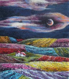 Felt+Picture.+Dreamlike+Landscape.+by+HappyColorfulFelting+on+Etsy