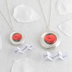 Personalised Poppy Locket Necklace in small (20mm diameter) and large (25mm diameter)