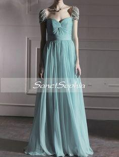Custom Chiffon Beaded Cap Sleeve Wedding Dress Fashion Prom Dress Wedding Party Evening Dress Gown
