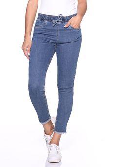864e6dbd6 Calça Cigarrete Jeans Elástico no Cós e Cordão Lúcia Figueredo Azul