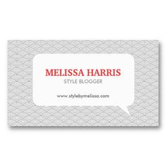 Stylish Chat Bubble Logo - Blogger, Party Planner Business Card