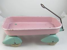 Adorable Signed Wyandotte Toy Childs Pink And Aqua Metal Doll Pull Wagon For A…