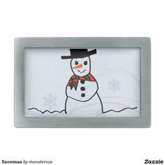 Snowman Rectangular Belt Buckle #Snowman #Snow #Snowflake #Winter #Holiday #Christmas #Fashion #BeltBuckle #Belt #Buckle