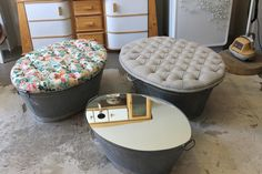 Katie Thomson's store Recreate is an upcycler's dream, filled with repurposed suitcase chairs, milk bottle lamps, clocks, bucket stools and ottoman tubs. Upcycled Crafts, Recycled Bottle Crafts, Repurposed Items, Tin Bath, Tin Tub, Bath Tubs, Easy Plastic Bottle Crafts, Diy Furniture Building, Bath Decor