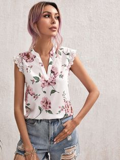 Floral Tops, Top P, Summer Blouses, Lace Detail, V Neck, Sleeves, Clothes, Outfits, Shopping