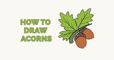 Learn to draw acorns. This step-by-step tutorial makes it easy. Kids and beginners alike can now draw a great looking acorns. Fruits Drawing, Food Drawing, Craft Projects For Kids, Arts And Crafts Projects, Craft Ideas, Learn To Draw Flowers, Autumn Art Ideas For Kids, Spider Drawing, Diy Thanksgiving Crafts