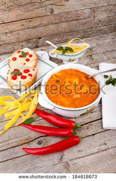 #Cannellini #beans #soup with #tomatoes and #pasta served with #crostini and #hot #chilipeppers.  #autumn / #winter #food #recipe #recipes #cuisine #cooking #culinary #gourmet #idea #ideas #royaltyfree #stockphotos via #Shutterstock