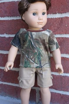 18 inch boy doll clothes made for doll such as American girl boy  tan cargo shorts and a camo t-shirt by GrandmasDollCloset on Etsy