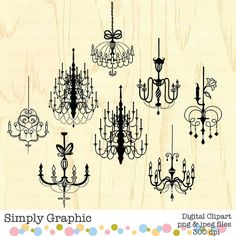 Instant Download, Chandelier Light Clipart, Chandelier Clip Art, Chandelier Wall Decal, Digital Scrapbook Element, Embellishment Image c033