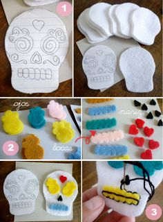 Cat trotters: Day of the Dead: Felt skulls Felt Diy, Felt Crafts, Diy And Crafts, Crafts For Kids, Arts And Crafts, Felt Skull, Sewing Crafts, Sewing Projects, Mexican Crafts