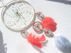 Großer Traumfänger mit Amazonit- edel in rot -grau von Hochwertige  Traumfänger, Schmuck, Bilder u.v.m. auf DaWanda.com