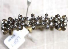 Ann Taylor Loft Rhinestone Flower Gold Stretch Bracelet #AnnTaylorLoft #floralrhinestone