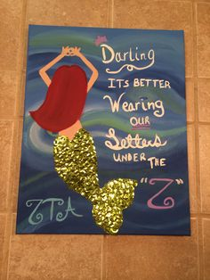 Sorority little mermaid canvas. Zeta Tau Alpha ( zta ) little reveal.
