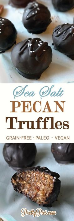 These sweet n salty truffles have just 5 ingredients and only take 5 minutes to make! Incredible toasted pecan and chocolate flavor. Sea Salt Pecan Truffles #vegan #paleo #healthy - PrettyPies.com (Free from gluten, dairy and refined sugar)