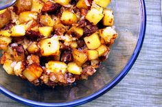 Breakfast potatoes by smitten kitchen. Yummy with butter, but would probably be even better with just oil (less rich).