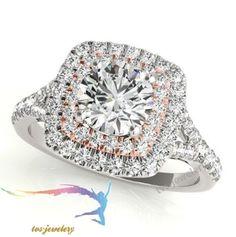 14k White Gold Round Cut Halo Diamond 925 Silver Engagement Wedding Ring 2.00 CT #tvsjewelery #HaloStyleRing #EngagementWeddingAnniversary