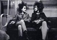 70's punk rock girls on the London Underground 80s Punk Fashion, 70s Punk,  Anti