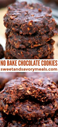 No-Bake Cookies are chewy, chocolaty and nutty at the same time! The best part is that they are quick to make and no use of the oven in this recipe! No Bake Desserts, Easy Desserts, Delicious Desserts, Dessert Recipes, Bar Recipes, Keto Desserts, Dessert Ideas, Yummy Treats, Yummy Recipes