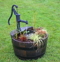 A Wooden Barrel Plant Filled Garden Water Feature