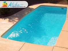"""Maui 1a: The Modern models are aesthetically pleasing designs with clean, sleek lines.  The Maui is a modern shaped fiberglass pool that is 12'x27' and goes to 5'6"""" in depth.  For more information about Aloha Fiberglass Pools or to find a local pool builder in your area that can assist you, visit www.AlohaFiberglassPools.com or call (800) 786-2318."""