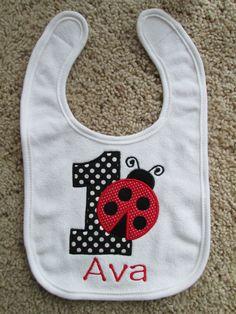 Personalized Ladybug Birthday Bib, 1st birthday, girl, boy. Ladybug 1st birthday bib.