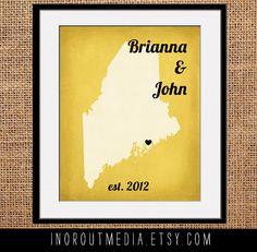 Wedding Art Print Vintage State Print 8x10 state by inoroutmedia