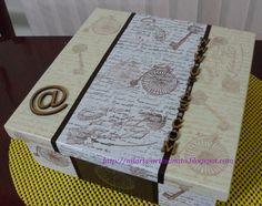 CAIXA MASCULINA    Essa caixa fiz de presente para um amigo do meu filho, ele fez os meus cartões de visitas, as tags e está fazendo o meu s...