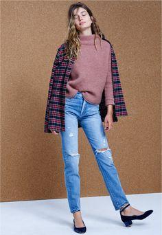 madewell perfect vintage jean worn with the southfield mockneck sweater + flannel slim ex-boyfriend shirt.