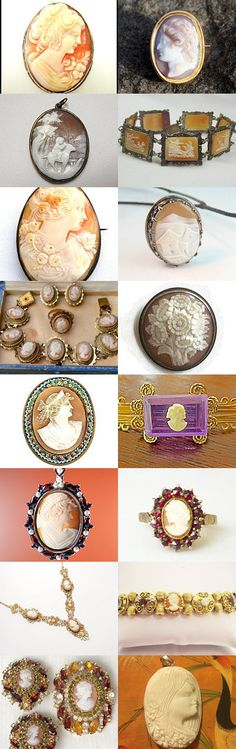 Cameos For Holiday Gift Ideas Sterling Gold Voguet Vogueteam by Gena Lightle on Etsy--Pinned with TreasuryPin.com